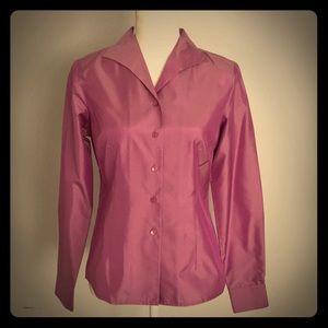 INC Petite Long Sleeve Purple Button Down Blouse